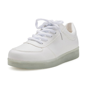 Mulheres Sapatos Couro Ecológico Primavera / Verão Conforto Tênis Sem Salto Ponta Redonda Branco / Preto