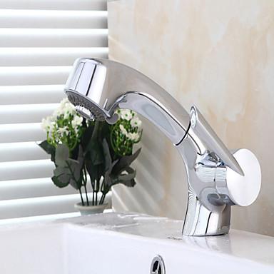 Moderna Conjunto Central Torneira Destacável Válvula Cerâmica Monocomando e Uma Abertura Cromado, Torneira pia do banheiro