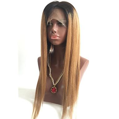 Ekte hår Blonde Forside Parykk Rett 130% tetthet 100 % håndknyttet Afroamerikansk parykk Naturlig hårlinje Ombre-hår Kort Medium Lang Dame