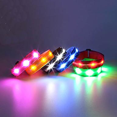 Joggearmbånd med LED Refleksarmbånd Kompaktstørrelse til Camping/Vandring/Grotte Udforskning Sykling Klatring Utendørs - Hvit Blå Rød