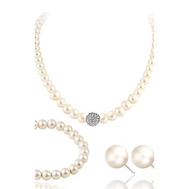 Conjunto de joyas - Perla, Perla Artificial, Brillante Lujo Incluir Blanco Para Boda Fiesta Casual / Diamante Sintético