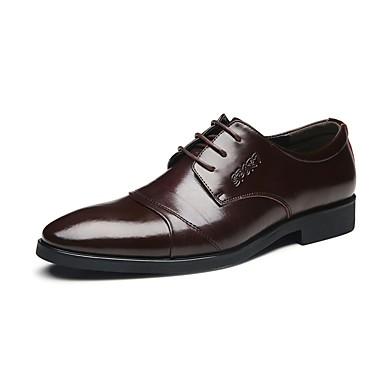 Homens sapatos Couro Primavera Outono Conforto Oxfords Caminhada Cadarço para Casamento Escritório e Carreira Festas & Noite Marron