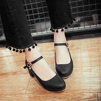 bloque PU Mujer Beige 05589283 Rosa Cuadrado Talón Vestido Negro redondo Tacones Tacón Dedo Otoño Verano Primavera Zapatos de Pedrería vq15rwqAB