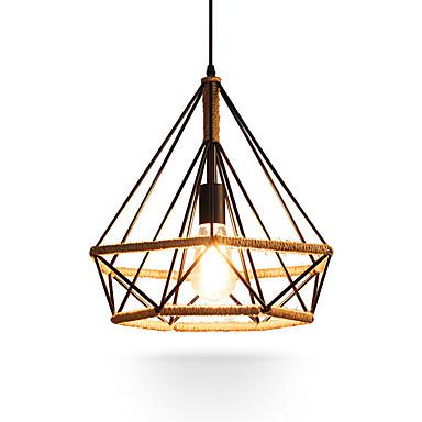 cuerda de cáñamo vintage forma de diamante jaula de metal luces colgantes loft sala comedor luces colgantes