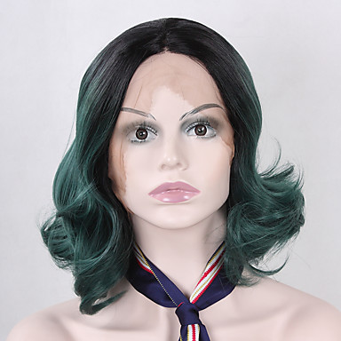 Synthetic Lace Front Wig Wavy Bob Haircut Natural Hairline Ombre