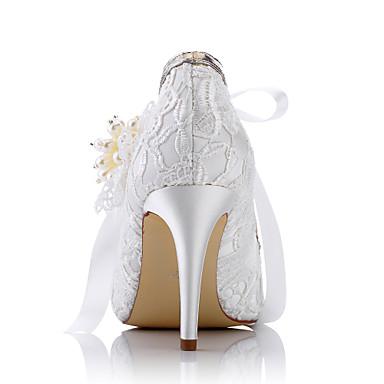 Soirée fermé Femme Confort amp; Chaussures Printemps Bout Aiguille Evénement Talon Talons Mariage Tulle 05634440 Eté Chaussures Ivoire à rS64SxP