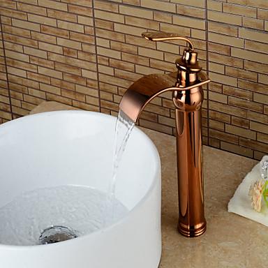 Moderna Conjunto Central Cascata Válvula Cerâmica Monocomando e Uma Abertura Rosa Dourado, Torneira pia do banheiro