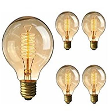 billige Elpærer-5pcs 40W E26 / E27 G95 Varm hvit 2200-2800k Kontor / Bedrift Mulighet for demping Dekorativ Glødende Vintage Edison lyspære 220-240V