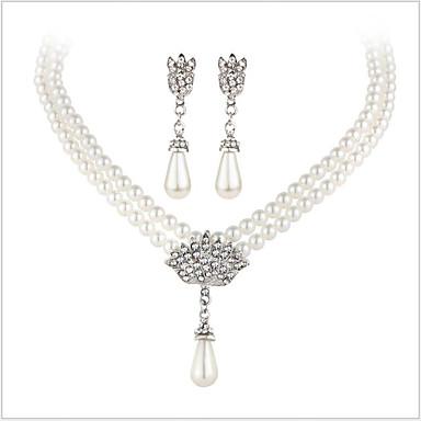 Krystall Perle / Imitert Perle / Strass Smykkesett 1 Halskjede / 1 Par Øredobber - Luksus / Brude Sølv Smykke Sett Til Bryllup / Fest /