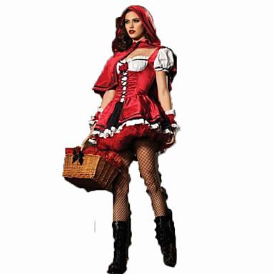 Rødhette Cosplay Kostumer Dame Karneval Festival / høytid Halloween-kostymer Rød Ensfarget