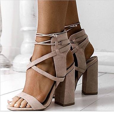 b2307703018 Γυναικείο Παπούτσια Φλις Άνοιξη Καλοκαίρι Φθινόπωρο Σανδάλια Χοντρό Τακούνι  Αποκλείστε τη φτέρνα Ανοικτή Μύτη Κορδόνια Για
