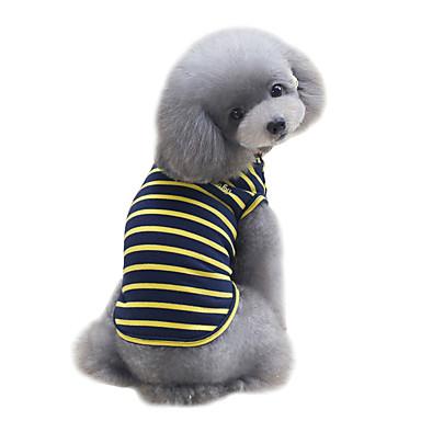 Cachorro Camiseta / Colete Roupas para Cães Riscas Amarelo / Vermelho / Verde Algodão Ocasiões Especiais Para animais de estimação Verão Esportes / Fashion