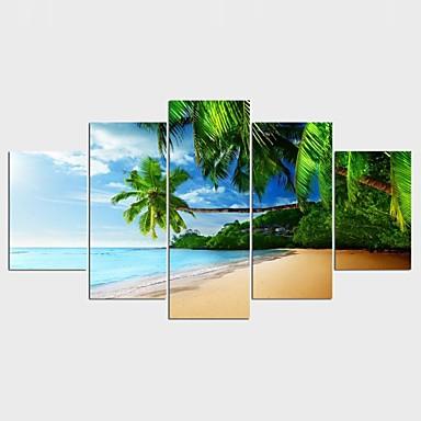 Blomstret/Botanisk Stil Moderne, Fem Paneler Lerret enhver form Trykk