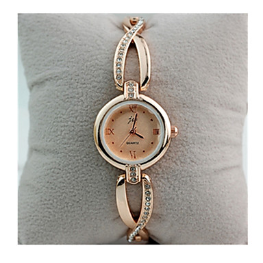 cheap Women's Watches-Women's Bracelet Watch Simulated Diamond Watch Diamond Watch Quartz Rose Gold Plated Stainless Steel White / Gold 30 m Casual Watch / Analog - Digital Ladies Vintage - White Golden