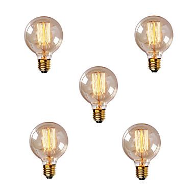abordables Ampoules électriques-5pcs 40W E26 / E27 G80 Blanc Chaud 2200-2700k Rétro Intensité Réglable Décorative Ampoule incandescente Edison Vintage 220-240V