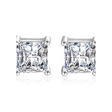 0b14e48cbe65 Mujer Circonita Diamante sintético Pendientes cortos Pendientes colgantes  Plata de ley Zirconia Cúbica Aretes Clásico Elegante
