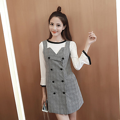 hitz sinal orador costura vestido xadrez peças manga 2016 da moda coreana