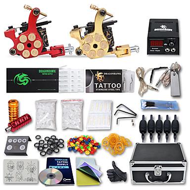 タトゥーマシン プロのタトゥーキット 2 xライニングとシェーディング用鋳鉄入れ墨機械 高品質 LCD電源 2×ステンレス鋼グリップ 5 ×使い捨てグリップ 50 クラシック 日常