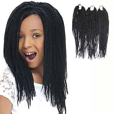 Fletning af hår Senegal Drejede Fletninger / Hårforlængelse af menneskehår 100% kanekalon hår / Kanelkalon 81 rødder Hårfletninger Daglig