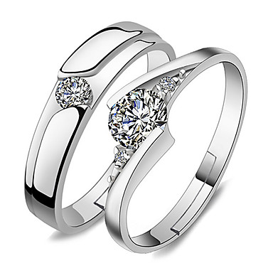 Mulheres Anéis de Casal / Anel - Estiloso Ajustável Prata Para Casamento / Festa / Ocasião Especial