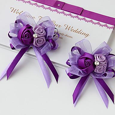 Bryllupsblomster Buketter Boutonnieres Andre Kunstig blomst Bryllup Fest / aften Materiale Blonde polyester Silke organza Satin 0-20cm