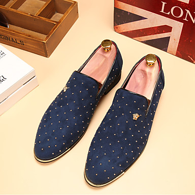 cheap Shoes Trends-Men's Comfort Shoes Leather Spring / Fall British Loafers & Slip-Ons Walking Shoes Black / Blue / Wedding / Party & Evening / Wedding / Party & Evening / EU40