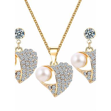 Mulheres Conjunto de jóias - Imitação de Pérola, Strass Coração Básico Incluir Branco Para Casamento / Festa / Ocasião Especial