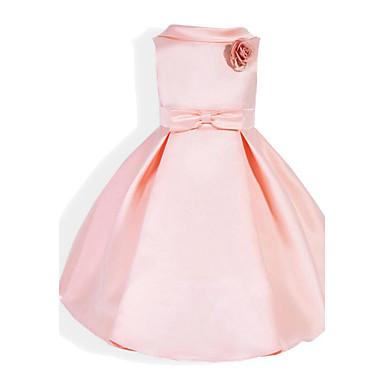 baratos Vestidos para Meninas-Bébé Para Meninas Laço Diário Escola Feriado Sólido Estampado Sem Manga Vestido Rosa / Algodão