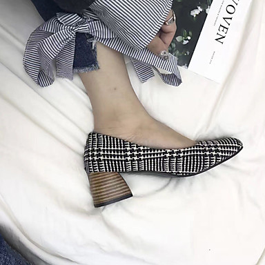 Mujer Confort Verano PU Vestido Tacones Zapatos 05684590 Cuados Escoceses cuadrada blanco Tacón Cuadrado Primavera Dedo Negro r5Irw