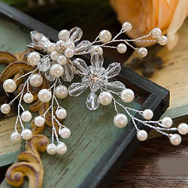 abordables Coiffes-Cristal / Imitation de perle / Strass Coiffure / Pince à cheveux / Outil de cheveux avec Fleur 1pc Mariage / Occasion spéciale / De plein air Casque