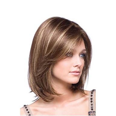 الاصطناعية الباروكات مستقيم شعر مستعار صناعي شعر Ombre بأطياف الألوان بني شعر مستعار نسائي متوسط دون غطاء البيج