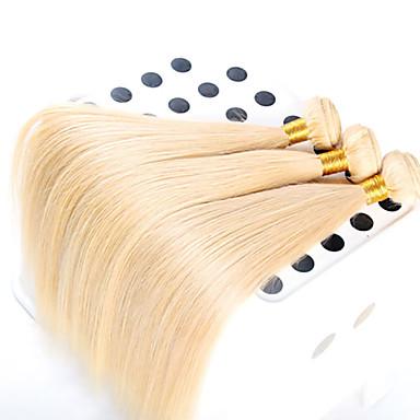 3 pieces/lot 100% Unprocessed Top Quality European Hair Straight Hair Wavy, Top Grade Virgin Color 613#Hair Extension
