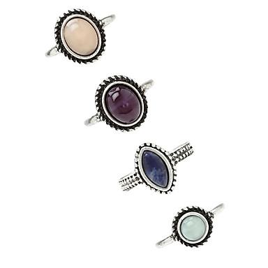 Χαμηλού Κόστους Μοδάτο Δαχτυλίδι-Γυναικεία Γεωμετρική Τεχνίτης Δαχτυλίδι Κράμα κυρίες Unusual Ασιατικό Μοναδικό Βίντατζ Euramerican Μοδάτο Δαχτυλίδι Κοσμήματα Ασημί Για Πάρτι Ένα Μέγεθος 4pcs