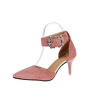 Mulheres Sapatos Couro Ecológico Primavera Verão Sapatos clube Sandálias Salto Agulha Dedo Apontado Pedrarias Presilha para Casual Social