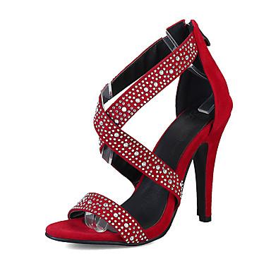 Mulheres Sapatos Flanelado Verão Conforto / Sapatos clube Sandálias Caminhada Salto Agulha Dedo Aberto Pedrarias / Ziper Preto / Vermelho