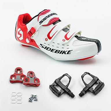 SIDEBIKE Adulto Zapatillas de ciclismo con pedal y cala / Calzado para Bicicleta de Carretera Fibra de Carbono Amortización Ciclismo Rojo y Blanco Hombre