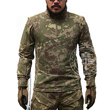 cheap Hunting & Nature-Men's Hunting T-shirt Outdoor Tactical Waterproof Windproof Top Spring Summer Fall Long Sleeve Hunting, Leisure Sports / Breathable