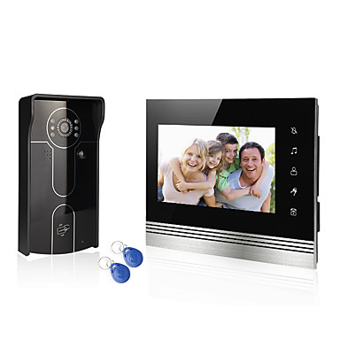 sistema de home fio 7 de vídeo sistema de entrada de telefone de porteiro 1 monitor da câmera de acesso 1 RFID com cartão de usuários