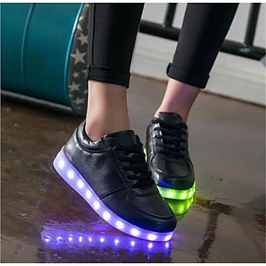 Printemps Lacet Chaussures Automne Blanc Basket LED Bout Lumineuses Noir rond Femme Synthétique 05665254 Chaussures qxEwqHz