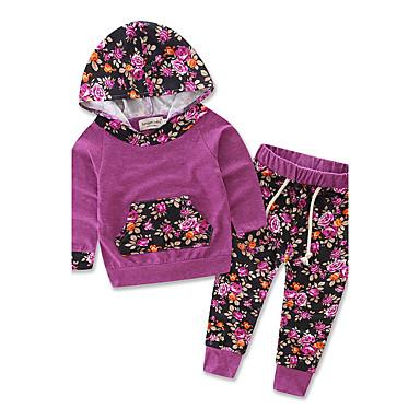 مجموعة ملابس قطن كم طويل مخطط / هندسي / بقع الرياضة / مناسب للخارج زهري / طباعة حيوانات / خطوط للفتيات طفل صغير
