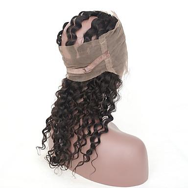 baratos Extensões de Cabelo Natural-3 pacotes com fechamento Cabelo Brasileiro 360 Frontal Onda Profunda 10A Cabelo Virgem Cabelo Humano Ondulado Tramas de cabelo humano Extensões de cabelo humano