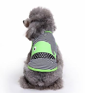 Gato / Cachorro Colete Roupas para Cães Riscas Verde / Azul Algodão Ocasiões Especiais Para animais de estimação Verão Homens / Mulheres Casual / Fashion