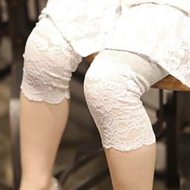 baratos Calças & Leggings para Meninas-Bébé Para Meninas Básico Diário Sólido Renda Algodão Calças Branco