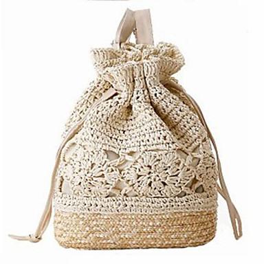 hesapli Çantalar-Kadın's Omuz çantası Hasır Solid Bej / Kahverengi / Koyu Kahverengi