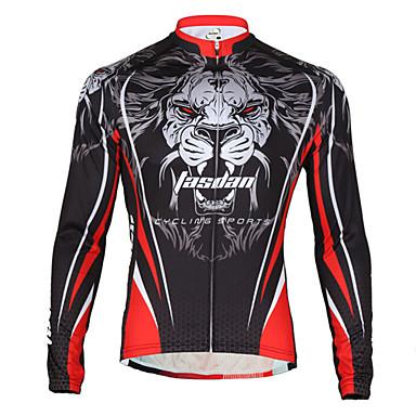 TASDAN Herre Cykeltrøje Cykel Trøje Åndbart, Hurtigtørrende, Tilbage til lomme Løve Vinter Vej Cykling Afslappet Pasform Cykeltøj / Elastisk