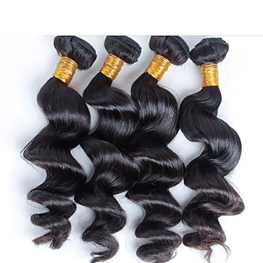 4 개 / 많은 무료 배송 처리되지 않은 처녀 여왕 브라질 인간의 머리카락, 브라질 느슨한 웨이브 처녀 머리