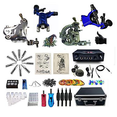 BaseKey آلة الوشم المهنية الوشم كيت - 4 pcs آلات الوشم, متخصص تزويد القوة LED الغطاء متضمن 2 × آلة تاتو آلة التاتو الروتاري للتخطيط