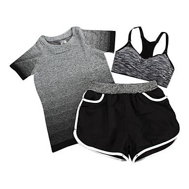 Dame Joggedress Kortermet Pustende SportsBH-er Shorts T-Trøye Topper Klessett til Trening & Fitness Fritidssport Badminton Sykling/Sykkel