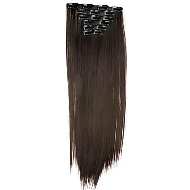 Pedaço de cabelo Liso Clássico Cabelo Sintético Alongamento Com Presilha Diário