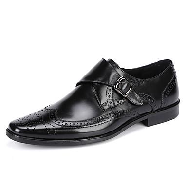 Homens sapatos Couro Primavera Outono sapatos Bullock Mocassim Oxfords Presilha Colchete para Casamento Casual Escritório e Carreira